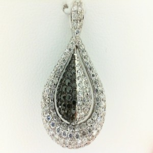 White 18 Karat Pendant With 0.47Tw Round Black Diamonds And 1.10Tw Round Diamonds