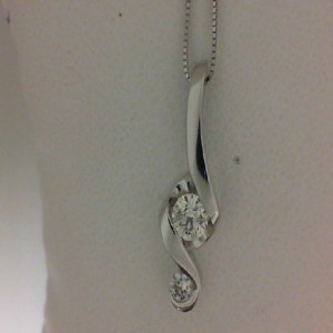 14 Karat Pendant With 2=0.40Tw Round Diamonds