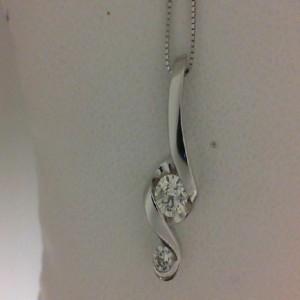 14 Karat Pendant With 2=0.40Tw Round Diamonds