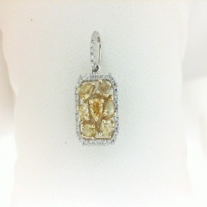 White 18 Karat Pendant With 68=0.16Tw Round Diamonds And 7=0.67Tw Various Shape Yellow Diamonds
