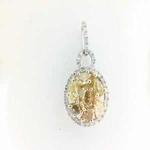White 18 Karat Pendant With 42=0.17Tw Round Diamonds And 7=0.73Tw Various Shapes Yellow Diamonds