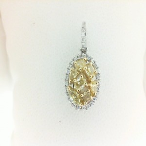 Two-Tone 18 Karat Pendant With 7=0.53Tw Various Shapes Yellow Diamonds And 32=0.13Tw Round Diamonds