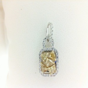 Two-Tone 18 Karat Pendant With 42=0.20Tw Round Diamonds And 5=0.40Tw Various Shapes Yellow Diamonds
