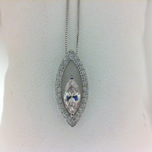 White 14 Karat Pendant With 62=0.20Tw Round Diamonds And One 0.62Ct Marquise Light Pink Diamond