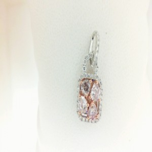 White 18 Karat Pendant With 4=0.60Tw Pear Pink Diamonds And 42=0.20Tw Round Diamonds
