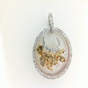 Two-Tone 18 Karat Pendant With 64=0.35Tw Round Diamonds And 7=0.62Tw Various Shapes Yellow Diamonds & 14Kt Chain