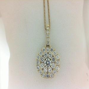 Yellow 14 Karat Pendant With 30=0.94Tw Round Diamonds