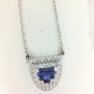White 14 Karat Pendant With One 0.86Ct Moon Shape Tanzanite And 40=0.32Tw Round Diamonds