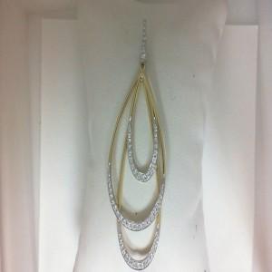 Two-Tone 14 Karat 3 Drop Pendant With 55=0.65Tw Round Diamonds