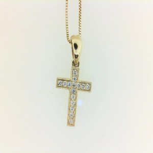 Yellow 14 Karat Cross Pendant With 15=0.08Tw Round Diamonds Chain: Box Metal: 14 Karat Color: Yellow Length: 18