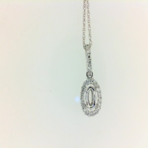 White 14 Karat Semi-Mount Pendant With 24=0.10Tw Round Diamonds Metal: 14 Karat Color: White Length: 18