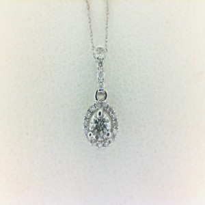 White 18 Karat Pendant With 19=0.08Tw Round Diamonds And One 0.10Ct Round Diamond With 14Kt Chain