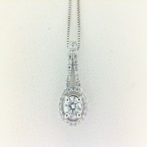 White 14 Karat Pendant With 40=0.16Tw Round Diamonds And One 0.23Ct Round Diamond
