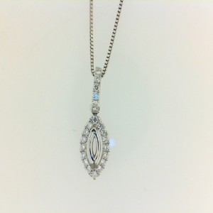 White 18 Karat Semi-Mount Pendant With 22=0.11Tw Round Diamonds Chain: Box Metal: 14 Karat Color: White Length: 18