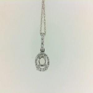 White 18 Karat Semi-Mount Pendant With 17=0.06Tw Round Diamonds Metal: 14 Karat Color: White Length: 18