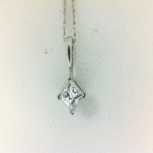White 14 Karat Pendant With One 0.25Ct Princess Diamond On 18 Inch Chain