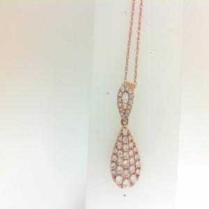 Rose 14 Karat Pendant With 43=0.49Tw Round Diamonds Chain: Fine Rope Metal: 14 Karat Color: Rose Length: 18