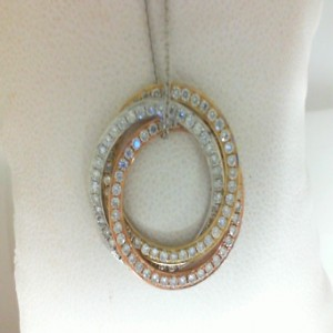 Tri Color 14 Karat Pendant With 1.16Tw Round Diamonds
