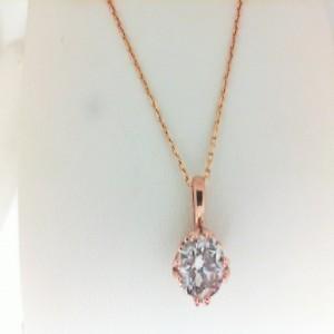 Rose 14 Karat Pendant With One 0.72 Ct Round Diamond