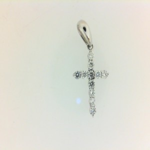 White 14 Karat Cross Pendant With 11=0.20Tw Round G Si1 Diamonds Chain: Box Metal: 14 Karat Color: White Length: 18