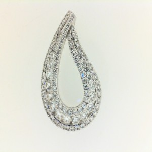 White 14 Karat Pendant With 99=0.85Tw Round G/H Si1 Diamonds Chain: Box Metal: 14 Karat Color: White Length: 18