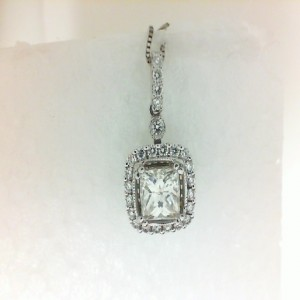 White 14 Karat Pendant With 25=0.26Tw Round G/H Si1 Diamonds And One 0.80Ct Princess J Si1 Diamond