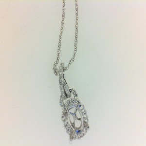 White 18 Karat Semi-Mount Pendant With 34=0.13Tw Round Diamonds