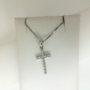 White 14 Karat Cross Pendant With 15=0.08Tw Round Diamonds