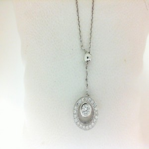 White 14 Karat Slide Pendant With 23=0.20Tw Round Diamonds Length: 18