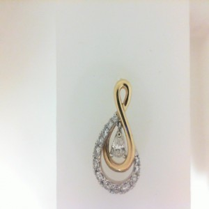 Two-Tone 14 Karat Pendant With One 0.07Ct Pear Diamond And 13=0.14Tw Round Diamonds