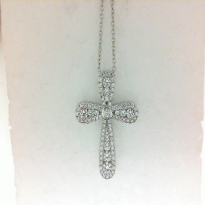 White 18 Karat Pendant With 87=0.45Tw Round G/H Si1-2 Diamonds Name: PRECIOUS PASTEL 20MM CROSS Metal: 18 Karat Color:White Length: 16