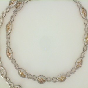 18 Karat Natural Pink Yellow And White Diamond Necklace