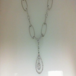 White 18 Karat Necklace With 185=1.77Tw Round G/H Vs-Si Diamonds