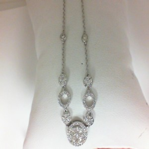 White 14 Karat Necklace With 87=0.89Tw Round Diamonds