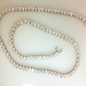White 14 Karat Necklace With 107=21.03Tw Round I Si1-2 Diamonds Name: Tennis Necklace Length: 17