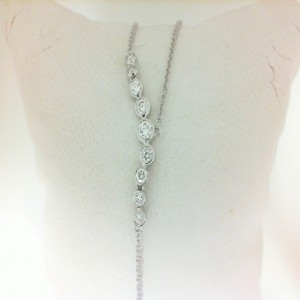 White 14 Karat Necklace With 10=0.38Tw Round Diamonds