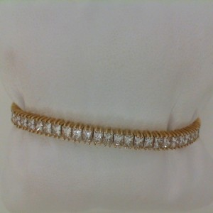 Yellow 14 Karat Bracelet With 63=5.69Tw Princess Diamonds