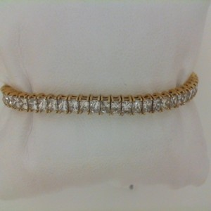 Yellow 14 Karat Bracelet With 64=8.12Tw Princess Diamonds
