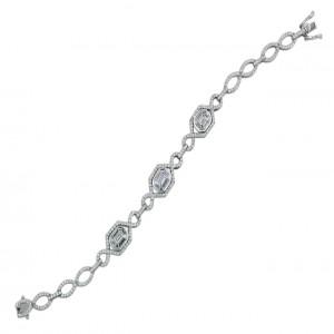 White 18 Karat Bracelet 289=2.09Tw Round Diamonds 24=0.84Tw Trapezoid Diamonds 3=0.78Tw Emerald Diamonds Style Name: Emerald Star