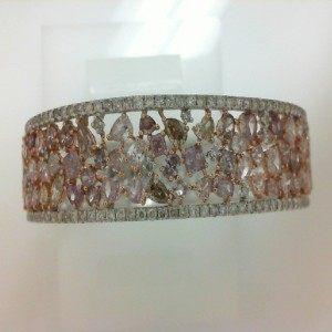 Lady'S Rose & White 18 Karat Bracelet With 119=1.74Tw Round Diamonds And 77=8.53Tw Pear Pink Yellow And Cognac Diamonds