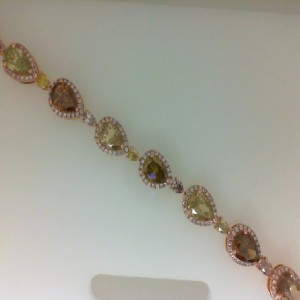 Lady'S Rose 18 Karat Bracelet With 28=10.10Tw Pear Diamonds And 288=1.01Tw Round Pink Diamonds Serial #: 572041