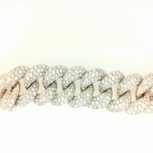 White 14 Karat Bracelet With 1393=8.10Tw Round Diamonds Micro Pave Ron Length: 26 Links