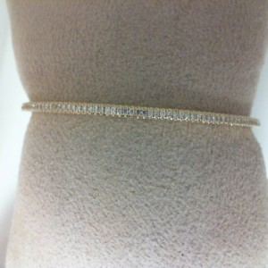 Yellow 14 Karat Bangle Bracelet With 75=0.38Tw Round Diamonds