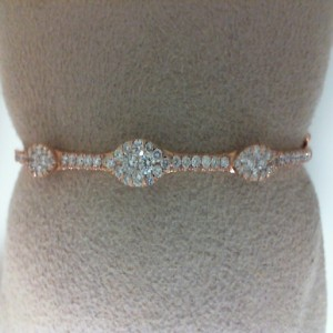 Rose 14 Karat Bangle Bracelet With 75=0.94Tw Round Diamonds