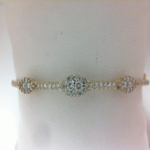 Yellow 14 Karat Bangle Bracelet With 14=0.07Tw Round Diamonds And 61=0.87Tw Round Diamonds/ .94Tdw