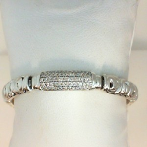 White Sterling Silver & 14Kw Bracelet With 63=0.83Tw Round pave Diamonds Length/Size: 7.25