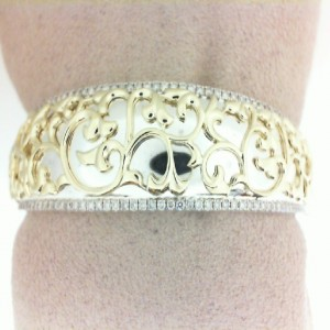 Sterling Silver & 18Ky Cuff Bracelet With 130=1.11Tw Round K/L Si3-I1 Diamonds Style Name: IVY LACE CUFF
