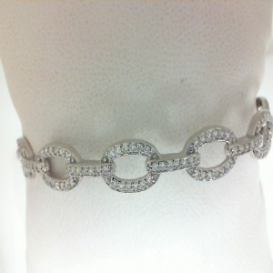 White 14 Karat Bangle Bracelet With 84=0.54Tw Round Diamonds