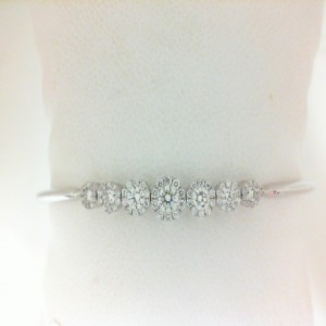 White 14 Karat Adjustable Bracelet With 77=0.71Tw Round Diamonds