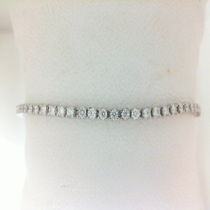 White 14 Karat Adjustable Bracelet With 44=0.97Tw Round Diamonds